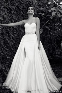 elihav sasson wedding dress 2015 strapless sweetheart neckline attached train at waist clean sheath gown with belt