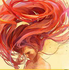 Девушка, рыжая, арт
