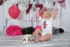 Zebra Baby Girl First Birthday Bodysuit