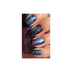 Simple, Realistic Galaxy Nails + Tutorial, featuring JINsoon Obsidian... ❤ liked on Polyvore featuring beauty products, nail care and nails