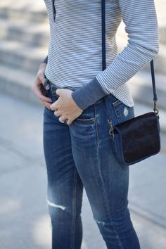 fall style inspiration with a ribbed henley top and ripped boyfriend jeans on one brass fox