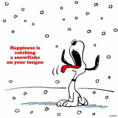 Happiness  is catching snowflakes on your tongue