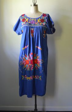 Vintage Mexican Dress 1960's Blue Hand Embroidered by EadoVintage, $55.00