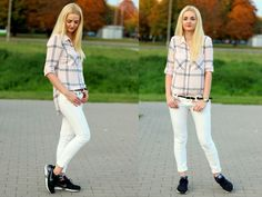 Made My Day, outfit, white trouser, jeans, koszula w kratę, ootd White Trousers, Trouser Jeans, White Jeans, Ootd, Pants, Outfits, Fashion, Trouser Pants, Moda