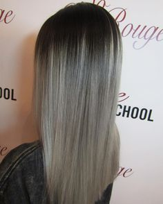 grey silver hair ombre black to silver root stretch long hair hairdresser makeup Liverpool So Coco Rouge