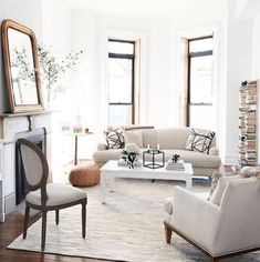 A bright neutral living room by Alaina Kaczmarski from the Everygirl gets recreated for less by copycatchic luxe living for less budget home decor & design Decor, Classic Home Decor, Family Living Room Design, Room Design, Family Living Rooms, Home Decor, House Interior, Interior Design, Scandinavian Design Living Room