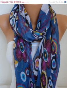 Spring Evil Eye Cotton Scarf Soft Shawl Summer Cowl by fatwoman