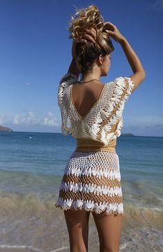 Crochet Fabric, Crochet Blouse, Crochet Lace, Crotchet Swimsuit, Crochet Bikini, Crochet Box Stitch, Crochet Clothes, Crochet Dresses, Bikini Outfits