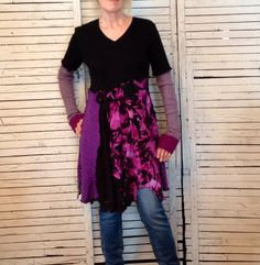 Floral and Black Sweater Tunic M/L, Upcycled Clothing, Recycled Sweaters, Upcycled Sweater, Wearable Art, Romantic Clothing