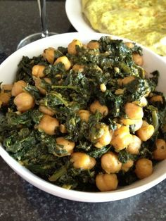 Spanish-Style Chickpeas and Spinach -Wine Tasting Tapas from Madhur Jaffrey's World Vegetarian - Life is in the Details