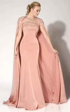 MNM Couture - 10840 Embellished Illusion Caped Gown in Pink Stunning Dresses, Beautiful Gowns, Nice Dresses, Formal Dresses, Pageant Dresses, Ball Dresses, Cape Gown, Gowns Of Elegance, Designer Gowns
