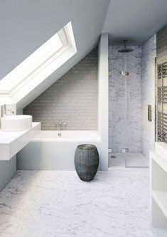 Amazing Small Bathroom Remodel Ideas & Small Attic Bathroom & Loft Conversion Ideas & Attic Bathroom Ideas Slanted Ceiling & Attic Room Ideas Loft Conversions & Sloped Ceiling Over & Read More The post Amazing Small Bathroom Remodel Ideas Small Attic Bathroom, Loft Bathroom, Bathroom Layout, Bathroom Interior, Modern Bathroom, Bathroom Ideas, 1950s Bathroom, Bathroom Cabinets, Master Bathroom