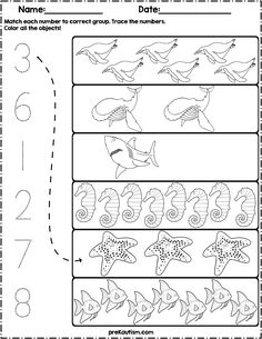 Ocean Animals Count and Match Numbers Preschool, Preschool Printables, Preschool Lessons, Preschool Math, 4 Year Old Activities, Literacy Activities, Writing Numbers, Numbers 1 10, Toddler Learning