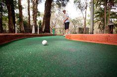 Putt putt golf at BIG4 Bonny Hills Holiday Park. swimming pools, putt putt golf, inflatable trampoline, karts for hire, table tennis #big4bonnyhills #portmacquarie #camping #caravanning