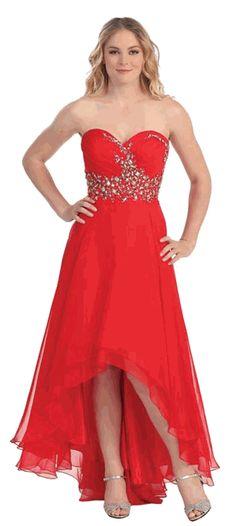 Red Strapless Chiffon Beaded Bodice Prom Dress #Red #Strapless #PromDress