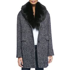 Dawn Levy 2 Kaba Tweed Coat W/ Removable Faux-Fur Trim ($305) ❤ liked on Polyvore featuring outerwear, coats, navy combo, long sleeve coat, navy coat, faux fur trim coat, tweed coat and cocoon coat