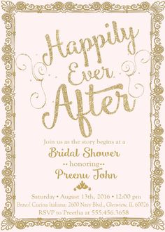 Custom Hily Ever After Bridal Shower By Ajbinvitations On Etsy More Princess Showers Disney