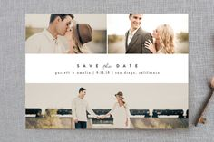 """Simple Date"" - Classical, Modern Save The Date Postcards in Frosting by peony papeterie."