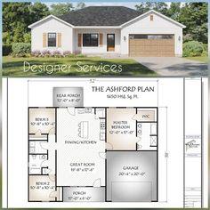 3 Bedroom Home Floor Plans, One Floor House Plans, Square House Plans, Custom Floor Plans, Ranch House Plans, Dream House Plans, The Plan, How To Plan, 1200 Sq Ft House