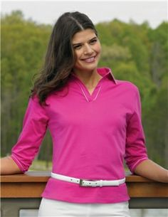 Tri-Mountain Ladies Long Sleeve Jonny Collar Knit Shirt. A shirt that draws you in with style, and keeps you there with comfort.  Sizes Small to 4XL