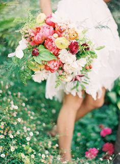 Woodland Fairy Bridal Bouquet in burgandy, coral, yellow, green and white~ Coral Peonies, Yellow, Burgandy & Peach Ranunculus, White & Burgundy Clematis, White Garden Roses, Rose Hips, Maiden Hair Fern