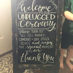 Amazing Rustic Chalkboard Wedding Sign that tells people to turn off all cell phones and other electronic devices just so they can enjoy the moment.