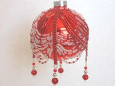 Red and White Beaded Ornament Cover by BeadsandThreadsbyAmy, $15.00