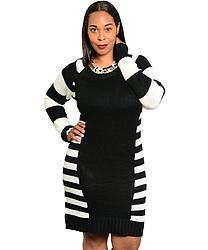 Black & White Sweater Dress (Plus Size)