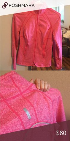Fitted Zella work out zip up Fitted/tight pink Zella zip up, has holes in the end of the sleeves for thumbs, high neck. Super cute, barely worn Zella Jackets & Coats