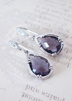 Suzette  Amethyst Glass Teardrop Earrings Cubic