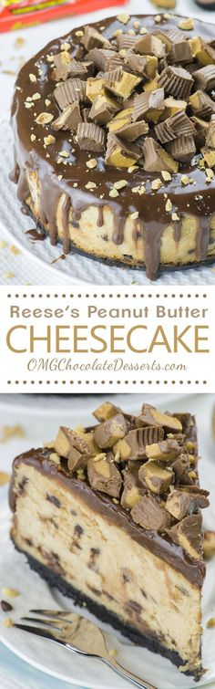 If there's nothing you love more in the world than the combination of chocolate and peanut butter you must try this Reese's Peanut Butter Cheesecake recipe! (must try desserts) 13 Desserts, Brownie Desserts, Chocolate Desserts, Delicious Desserts, Dessert Recipes, Yummy Food, Yummy Eats, Yummy Yummy, Chocolate Chips