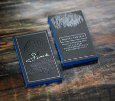 Spot UV Silk Laminate Business Card with Neon Blue Edge Paint • Get yours @ wetheprinters.com Laminated Business Cards, Spot Uv Business Cards, Painting Edges, Foil Stamping, Neon, Silk, Prints, Blue, Design