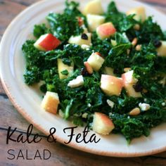 Kale & Feta Salad - Chopped kale tossed with diced apple, currants, pine nuts, and feta cheese makes a refreshing and nutritious salad.