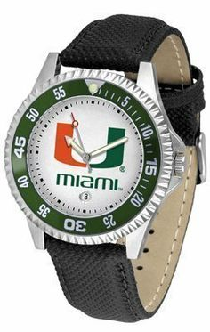 Miami Hurricanes Suntime Competitor Poly/Leather Band Watch - NCAA College Athletics by SunTime. $58.95. Men. Date Calendar And Rotating Bezel. Officially Licensed Miami-Florida Hurricanes Men's Leather Sports Watch. Adjustable Band. Poly/Leather Band. Quality Timepiece for your favorite fan!