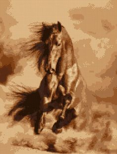 Stallion Horse Cross Stitch pattern PDF - EASY chart with one color per sheet And traditional chart! Two charts in one! by HeritageChart on Etsy