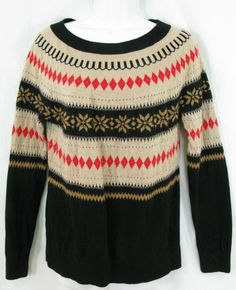 TALBOTS Size L Tan Black Red Nordic Wool Mohair Blend Pullover Crew Neck Sweater #Talbots #Crewneck