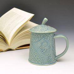 Lidded Teacup Mug by Creativewithclay on Etsy