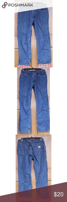 """Carhartt Flannel Lined Jeans 12 Carhartt flannel lined jeans, 12x32. Laying flat they measure approximately: waist 16"""", rise 10.5"""", Inseam 32"""". Nice overall condition and smoke free home. Thanks! Carhartt Jeans"""