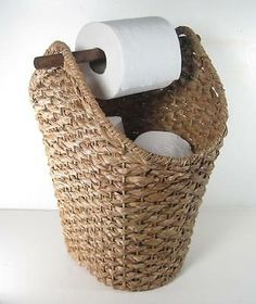Wicker Rope Basket Toilet Paper Holder Rustic Country Style Bathroom Storage - Basket and Crate Country Style Bathrooms, Small Rustic Bathrooms, Bathroom Small, White Bathroom, Modern Bathroom, Bad Styling, Toilet Paper Storage, Diy Toilet Paper Holder, Rope Basket