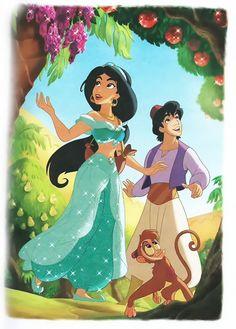 Disney Princess Photo: Jasmine and Aladdin Disney Animation, Disney Pixar, Walt Disney, Disney Couples, Disney And Dreamworks, Disney Girls, Disney Cartoons, Punk Disney, Disney Facts