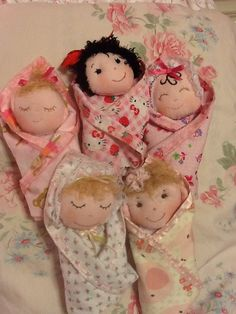 Swaddle Baby PDF Doll Pattern with 9 Faces & 9 Hair Variations! Easy Cloth Doll Pattern by Peekaboo Porch by PeekabooPorch on Etsy https://www.etsy.com/listing/190953546/swaddle-baby-pdf-doll-pattern-with-9