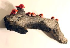 Needle Felted Tiny Red Birds on Tree Branch Home Decor Art by kmwatkins https://www.etsy.com/listing/212204466/needle-felted-tiny-red-birds-on-tree
