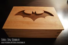 Handmade Batman Wooden Box with Pop Off Top by ScrollSawScribbler Cool Art Projects, Wood Projects, Woodworking Projects, Projects To Try, Wood Log Crafts, Batman Girl, Gifts For Hubby, Superhero Kids, Scroll Saw