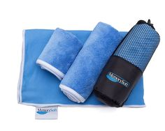 NEW Luxury Microfiber On-the-go Quick Dry Towel By Memorysoft - Bath Size - Includes 2 Freebie Towels  Case - Compact for Travel *** See this great product.