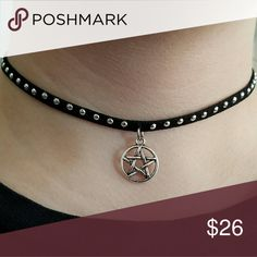 """Studded Pentagram Choker New Editions to my Gothic Girl Collection   Silver studded leather with a beautiful silver pentagram charm with silver plated hardware.   15"""" in length with a 2"""" extention.  Most won't need the extension   Magen's Fairytale Creations original handmade by me Magen's Fairytale Creations  Jewelry Necklaces"""