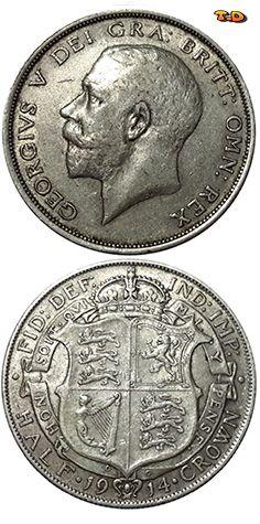 N♡T. United Kingdom  Years1914 Value1/2 Crown  MetalSilver (.925) Weight14.14 g Diameter32.3 mm