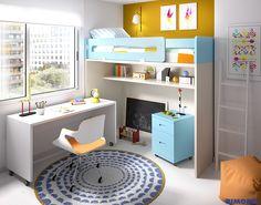 H302 Det 01 Mesa escritorio con ruedas, para cuando necesitas tener espacio, además en las #habitacionesjuveniles todo en uno de Rimobel podrás tenerlo todo bien recogido.Porque, Reducir el espacio para el mobiliario, es ampliar el espacio para la diversión