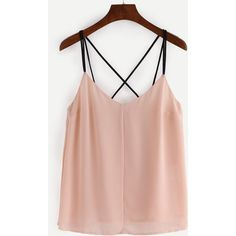 Strappy Pleated Chiffon Cami Top - Apricot (505 DOP) ❤ liked on Polyvore featuring tops, apricot, cami tops, pink top, chiffon tank, pink camisole and cami tank