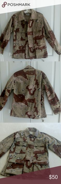 """U.S. Army """"Desert Storm"""" BDU Coat This 1990's BDU (battle dress uniform) coat is in great shape . Measurements are 22"""" across chest, 28"""" length. Sleeves are approximately 23"""" and across the shoulder 18"""". This camo is called Chocolate Chip 6 color Desert. Pic 7 shows a 1""""  glitch upper right back sleeve flat felled seam. This Beautiful cotton blend jacket is a great way to show your support for our troops while making your own fashion statement! Please see the pics of tags for more info. I am…"""