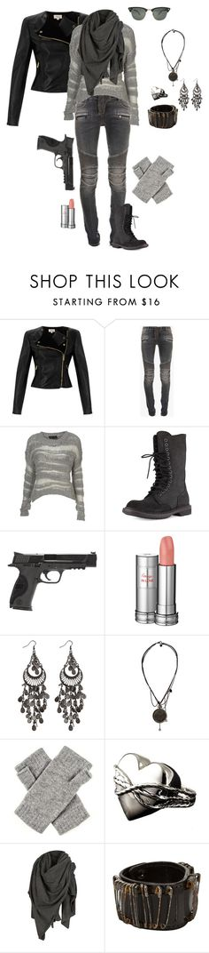 """""""Untitled #4341"""" by gone-girl ❤ liked on Polyvore featuring Temperley London, Balmain, Rick Owens, Smith & Wesson, Lancôme, AllSaints, Ray-Ban and Bolongaro Trevor"""